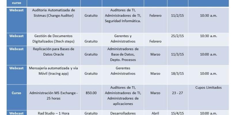 Calendario de Capacitaciones 2015